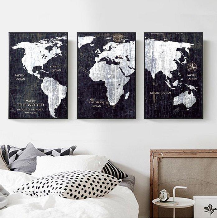 三幅一組油畫布 地圖黑白 畫芯/畫布/30X40☺暖暖屋☺傢居藝術館