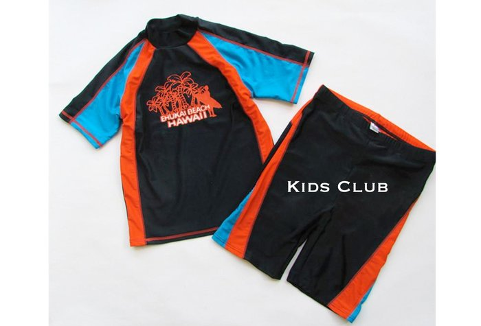 【Kids Club】5/20 歐美品牌寶寶男童大童兒童帥氣夏季拼接短袖上衣游泳衣泳裝泳褲短褲海灘褲套裝-兩件式