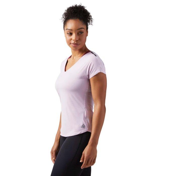 Reebok 全新 粉紅色 標黑肩線 機能 快乾 排汗 運動 休閒 健身 訓練 重訓 上衣 短袖上衣 T恤 CF5946