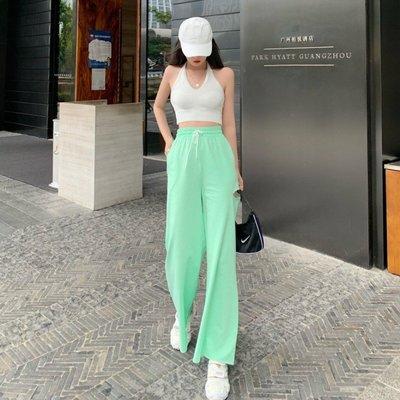 闊腿褲女高腰垂感2020夏季新款破洞百搭直筒褲寬松顯瘦休閑褲子潮