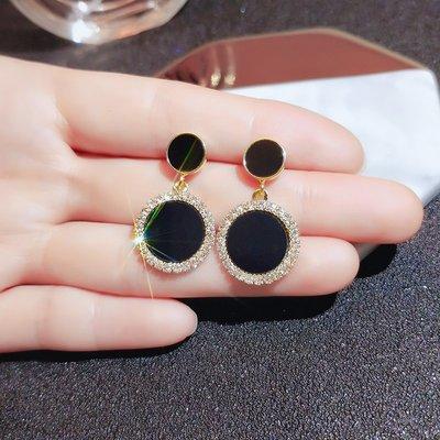 SWEET COVE~高級感鑲鉆耳環2021年新款潮韓國個性氣質耳釘女銀針網紅百搭耳飾