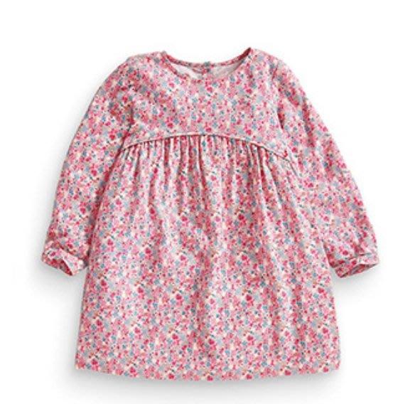 ☆草莓花園☆BST-0412梭織純棉長袖印花女童連衣裙 長袖衣服 純棉童T 女童  童T恤