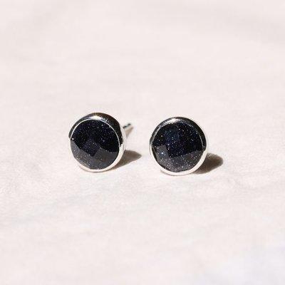 三角晶砂 925耳釘 黑瑪瑙紫晶砂耳釘 氣質男女款銀耳飾防過敏