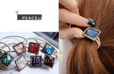 【PEACE33】正韓國空運進口。髮飾飾品 低調奢華 寶石方塊薄片 金髮繩/髮圈/髮束。現貨 優惠