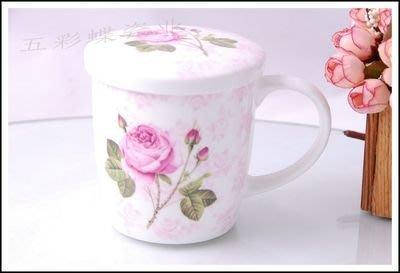 粉紅玫瑰精品屋~一支玫瑰系列骨瓷馬克杯~
