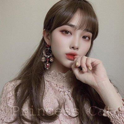韓國Baby~Princess Cat RedVelvet 巴洛克深酒紅色做舊玫瑰花Joy同款  耳環
