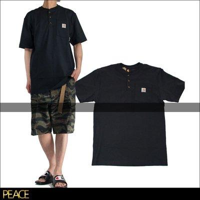 【PEACE】美國進口 Carhartt_K84 Henley 亨利領 工作 口袋 短T T恤 黑色