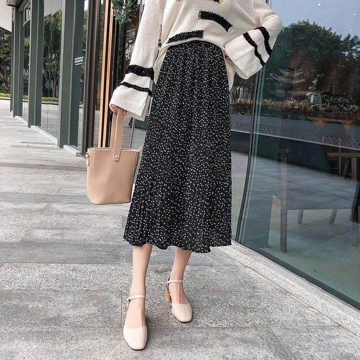 的裙子女2019春季新款韓版時尚百搭碎花波點雪紡裙半身裙326
