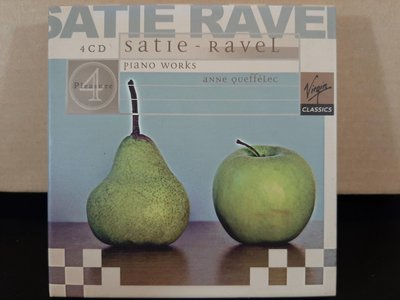 Anne Queffelec,Satie-Ravel~Piano Works,安妮·克菲萊克鋼琴,演繹:拉威爾&薩提鋼琴作品集,4CD,如新。