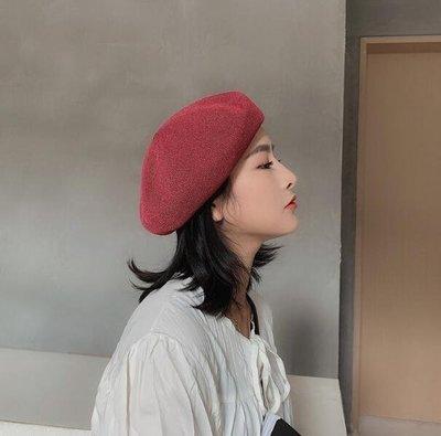 貝雷帽  多色透氣薄款出口麻料貝雷帽子  韓版畫家帽 男女款—莎芭