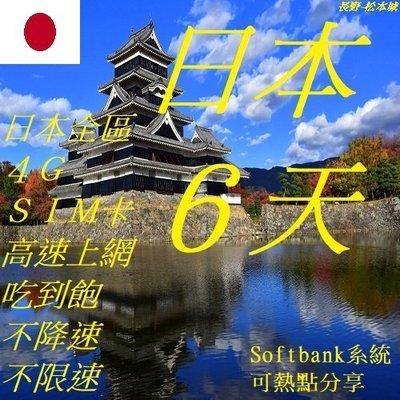 日本 6天/6日 上網 4G SIM 網卡 (附卡針)  wifi 全區 免開通 插卡即用 吃到飽 不降速 不限速