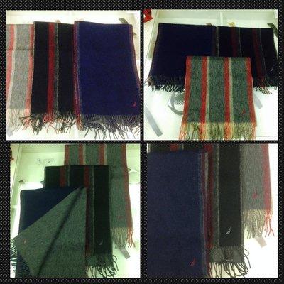 美國時尚運動品牌 NAUTICA 經典限量 羊毛圍巾 經典限量款 黑/灰/深藍色 三款 (全新/現貨) 跨年必備品