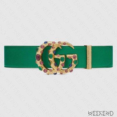【WEEKEND】 GUCCI Double G 寶石 水晶 腰帶 皮帶 4公分 綠色 600630