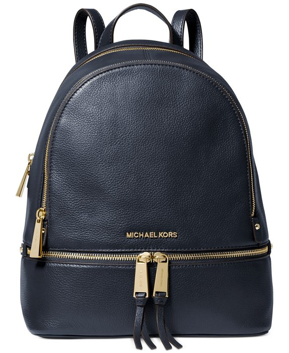 Coco 小舖 Michael Kors Rhea Zip Small Backpack 深藍色皮革後背包