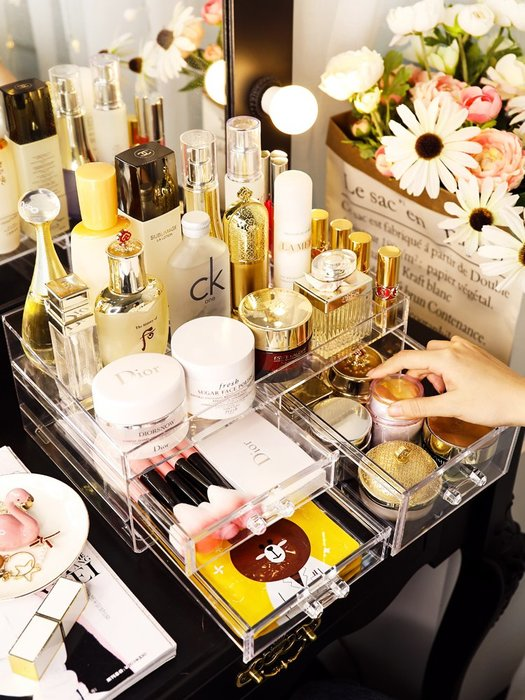 化妝品收納盒抖音同款桌面亞克力口紅大梳妝臺護膚品置物架宿舍女-青木居家
