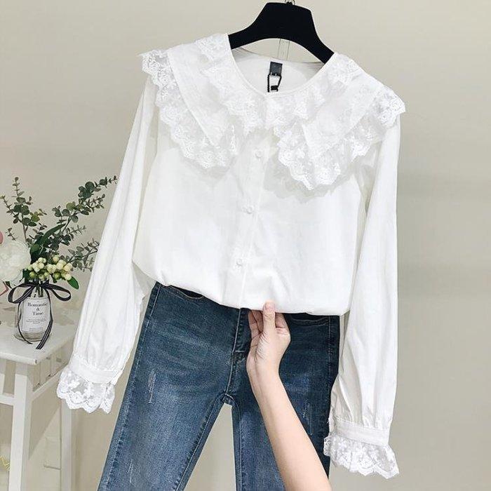 蕾絲打底衫白襯衫女2019春裝新款韓版長袖寬松蕾絲娃娃領蕾絲襯衣娃娃衫上衣