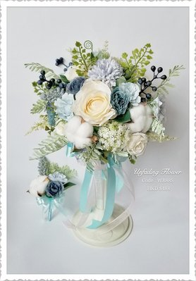 Unfading Flower 淺藍香檳玫瑰絲花球(高仿真花)