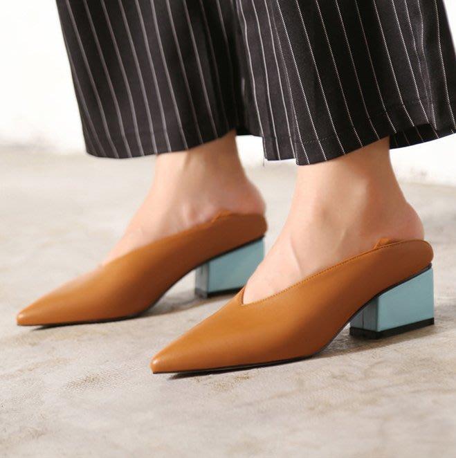 SeyeS  {韓國空運}  NYLON復古古著時尚尖頭撞色二穿跟鞋