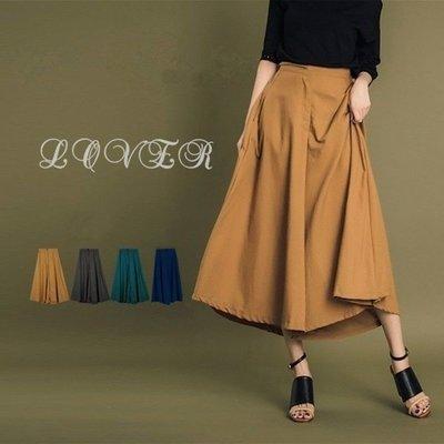 追加到貨寬褲 高腰顯瘦傘狀後假口袋造型A字寬褲裙 4色(現貨駝/藍/黑/綠)