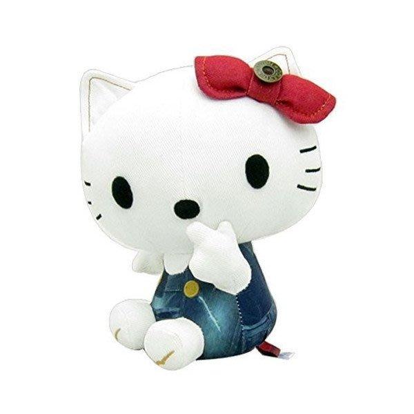 41+現貨免運費 Hello Kitty  EDWIN 丹寧玩偶娃娃 .藍吊帶褲.紅蝴蝶結.坐姿 日本代購 小日尼三