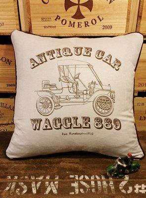 復古車4(D款) 麂皮手工抱枕 : 車 古典 工業風 純手工 抱枕 居家 裝飾 家飾 麂皮 : waggle889
