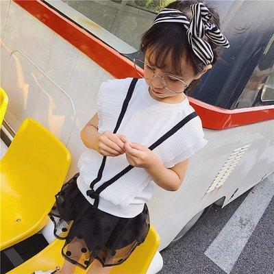 【溜。溜。選物】早秋新款*小童V造型休閒上衣 + 波點網紗短裙 兩件組套裝