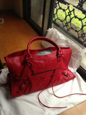 夏日卷卷~ Balenciaga 正品/真品 巴黎世家機車包正紅色PART TIME
