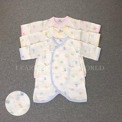 儷兒世界 50022純棉貓頭鷹紗布蝴蝶衣 連身衣 和尚衣 紗布衣 反摺袖 綁帶-台灣布料 台灣製造
