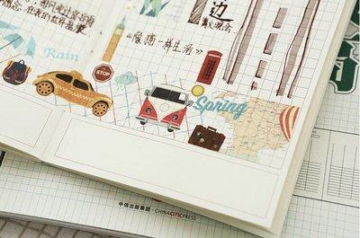 原創復古旅行系列時間軸城市地圖和紙膠帶 手帳DIY裝飾素材