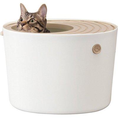 48小時出貨*WANG*日本IRIS《立桶式貓便箱-小-PUNT-430-兩色》防潑砂 貓便盆
