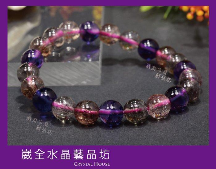 【崴全水晶】超七 天然 能量 水晶 三輪 骨幹 手鍊 【8.5mm】 手珠 飾品 ※ 送禮好選擇