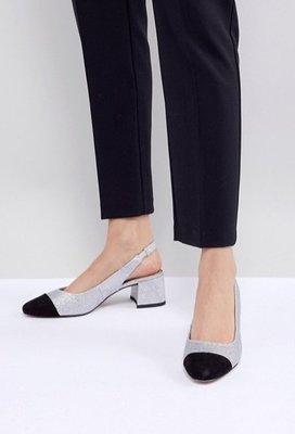 ◎美國代買◎ASOS黑色麂皮楦頭搭配銀金葱鞋身小香鞋款雙色楦頭復古方跟露腳跟細皮帶扣高跟鞋~歐美街風~大尺碼