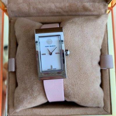【全新正貨私家珍藏】Tory Burch Buddy Signature Watch 真皮带手錶33 X 23 MM