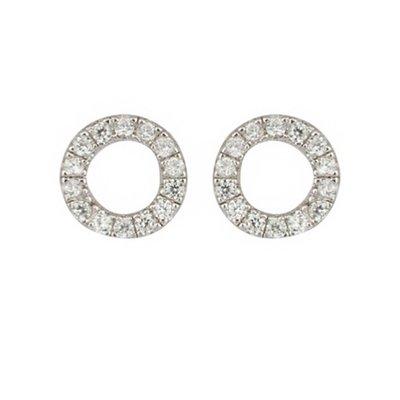 SHASHI 台北ShopSmart直營店紐約品牌 Circle Pave 鑲鑽圓滿圈迷你圓耳環 925純銀