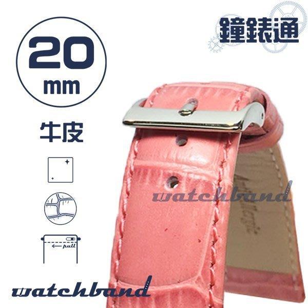 【鐘錶通】C1.26I《亮彩系列-手拉錶耳》鱷魚格紋-20mm 櫻花粉┝手錶錶帶/皮帶/牛皮錶帶┥