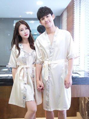 韓版夏季男女長款浴袍薄款情侶睡衣冰絲綢性感吊帶睡袍兩件套睡裙