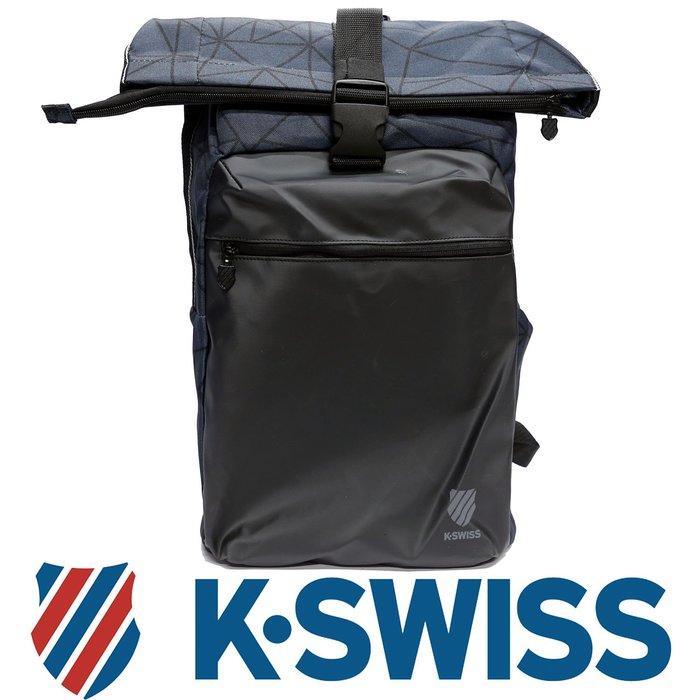 鞋大王K-SWISS BG037-038(黑×藍)、007(黑×灰) 26×15×48㎝休閒後背包【特價出清,免運費】