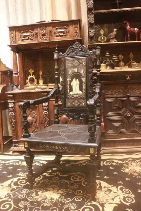 【家與收藏】(已售)特價極品珍藏歐洲百年古董博物館級18世紀義大利文藝復興風格精緻手工鑲嵌高背烏木扶手椅 1