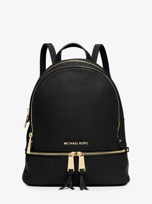 Coco 小舖 Michael Kors Rhea Zip Small Backpack 黑色皮革後背包