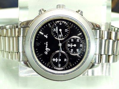 精品大師-AGNES.B-3眼計時鋼帶石英錶黑/市價14000-二手真品
