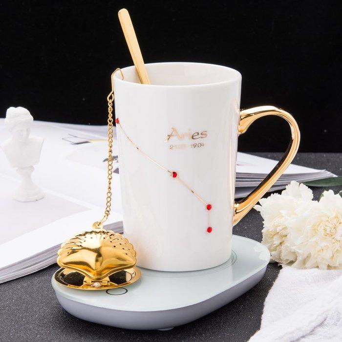 奇奇店-創意55度恒溫水杯鑲鉆陶瓷杯子馬克杯帶蓋勺過濾茶杯情人節禮物#簡約 #輕奢 #格調