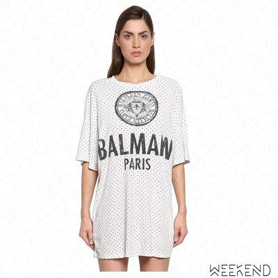 【WEEKEND】 BALMAIN 寬鬆 點點 短袖 T恤 上衣 白色 18春夏新款