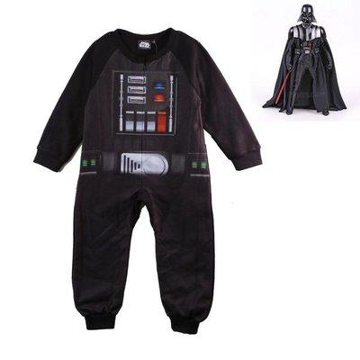 出口歐洲Star Wars星際大戰黑武士黑武士達斯維德造型搖粒絨連身睡衣(100~140CM適用)新款上市~