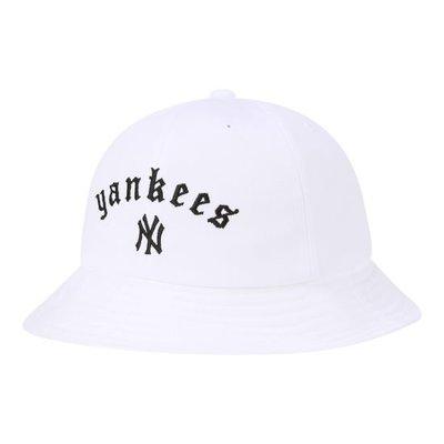 特價【韓Lin連線代購】韓國 MLB -- 白NY刺繡YANKEES白色漁夫帽STREET GOTHIC WORDING