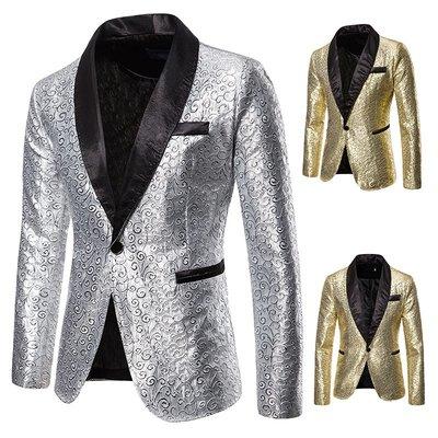 『X-男人館』 N11 新款演出禮服 燙金韓版西服 夜店男裝主持司儀西裝外套 夾克 棉質立領外套NRG1807