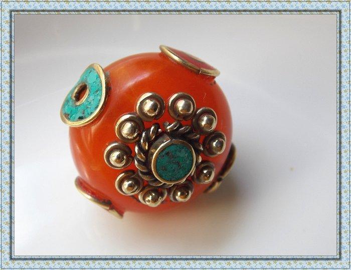 【雅之賞|藏傳|佛教文物】*特賣* 尼泊爾手工珠 佛珠勒子背雲  DIY手串配珠 項墜飾品配件~120807