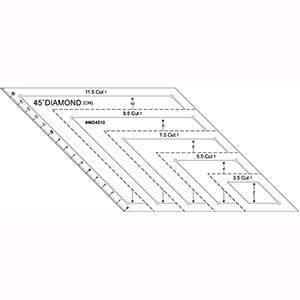 【傑美屋-縫紉之家】縫紉工具~MD4510 45度拼布鑽石尺(2-10cm)菱形