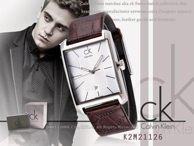 CASIO手錶專賣店 國隆 CK手錶專賣 Calvin Klein 瑞士 _K2M21126_方型直纹紳士_保固一年發票