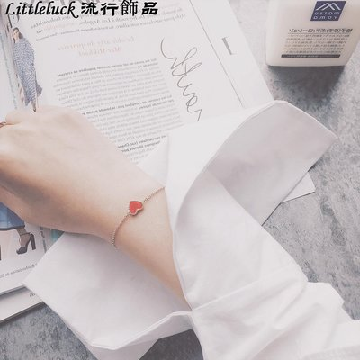 流行飾品Noble Lady 韓國定制19K玫瑰金紅色桃心細手錬 少女心桃花運手錬