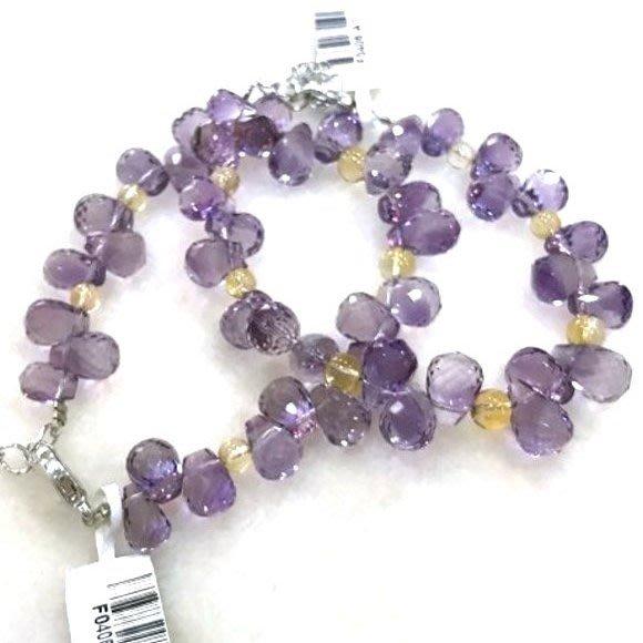 『純天然水晶量販』天然紫水晶搭配黃水晶手鍊 特級鑽石切割~超高淨度~光亮度超優~送禮.禮物~附禮盒